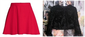 H&M Circle Skirt & Faux Fur Cropped Jacket